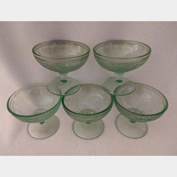 5 Footed Cups Depression Glass Vintage Green